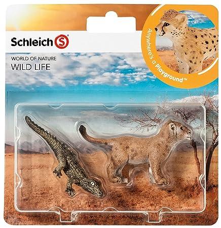 Schleich - 21038 - Figurine Animal - Lionceau Et Jeune Crocodile - Pack De 2