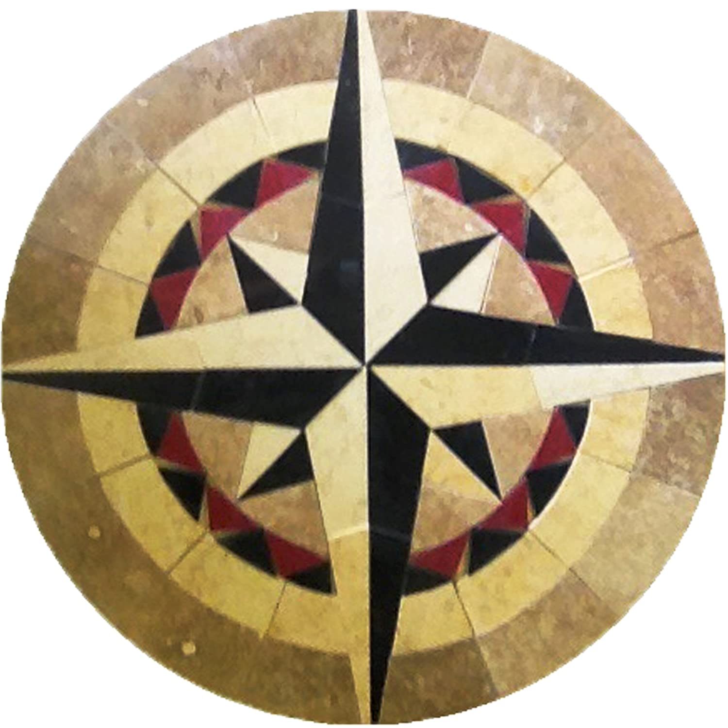 Round Mosaic Tile Patterns: Floor Marble Round Mosaic Medallion Nautical Compass Rose