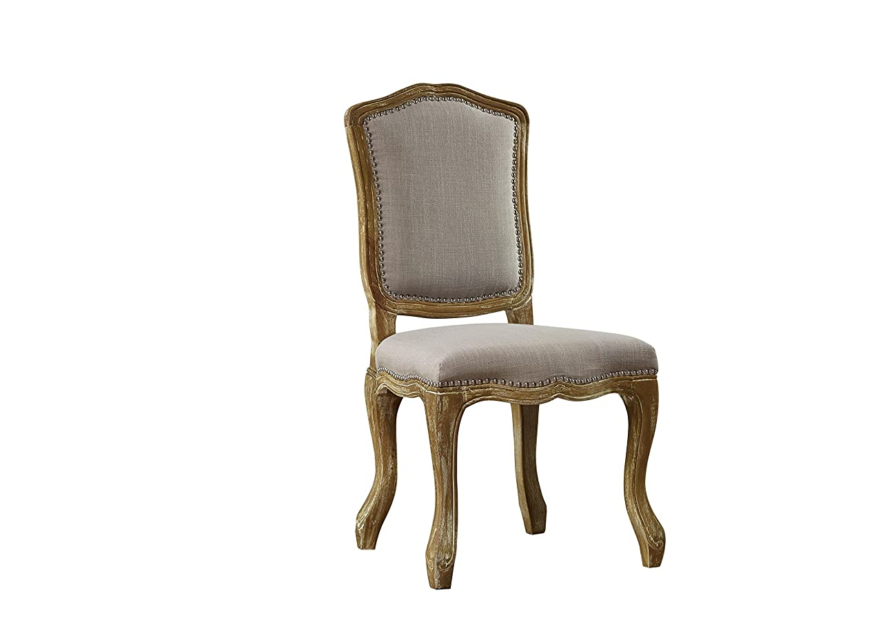 Baxton Studio Chateauneuf French Vintage Cottage Weathered Oak Linen Upholstered Dining Side Chair, Medium, Beige 0