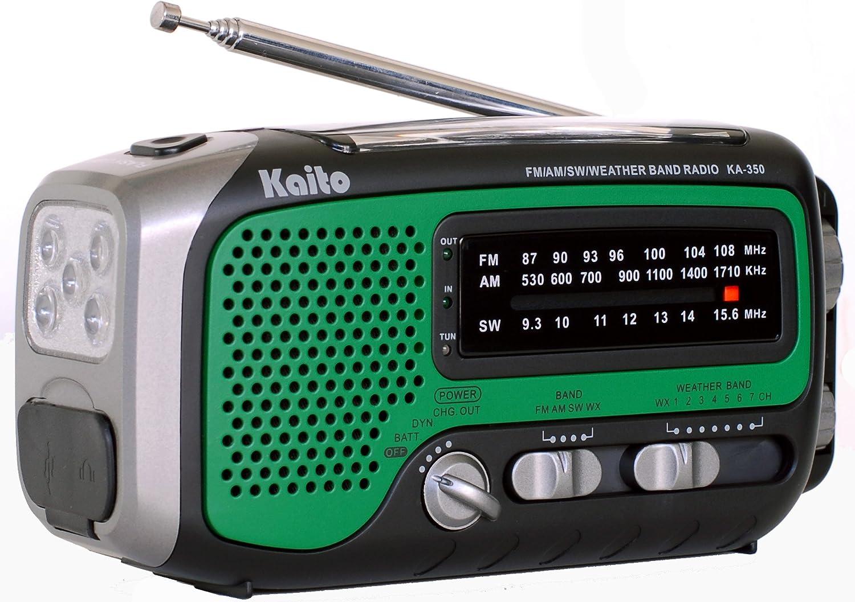 Kaito KA350GN Voyager Trek Solar/Crank AM/FM/SW NOAA Weather Radio with 5-LED Flashlight, Green