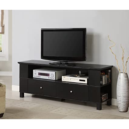 "Walker Edison 60""  Class Black Wood TV Stand with Storage"