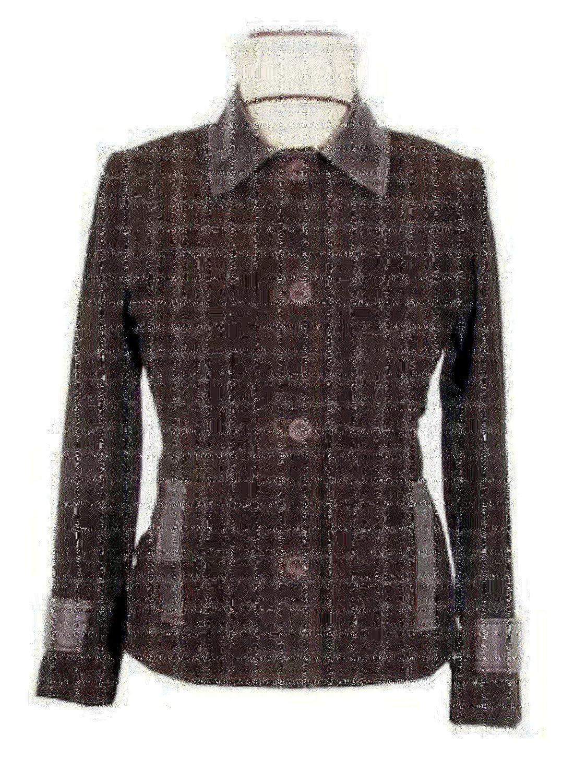 Alpacaandmore Braune taillierte Lamm Nappa Wildleder Damen Lederjacke handgenäht knöpfbar