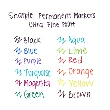 Sharpie 37003 Ultra Fine Point Permanent Marker, Blue, 12-Pack