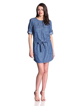 Trina Turk Women's Giovanna Chambray 3/4 Sleeve Shirtdress, Indigo, 0