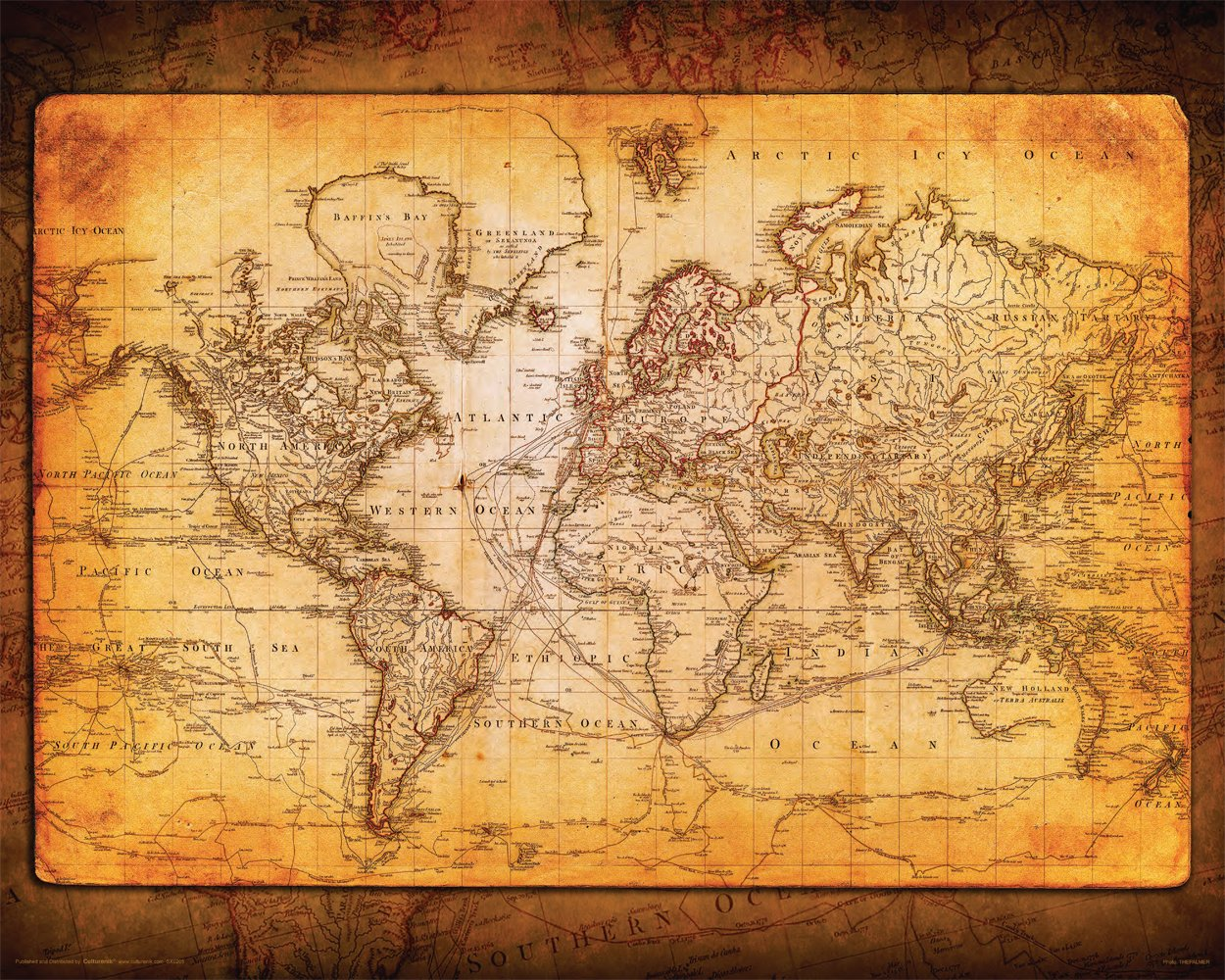 World Map Antique Vintage Old Style Decorative