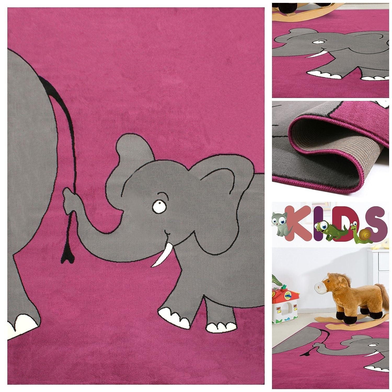 Kinderteppich Spielteppich mit lustigen Elefanten in Lila Violett | Teppich mit Elefant Tier-Motiv für Mädchen | Kids Teppiche fürs Kinderzimmer, Babyzimmer & Spielzimmer, Farbe:Violett;Größe:160×225 cm online bestellen