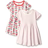 Touched by Nature Baby 2-Pack Organic Cotton Dress, Flower, 12-18 Months