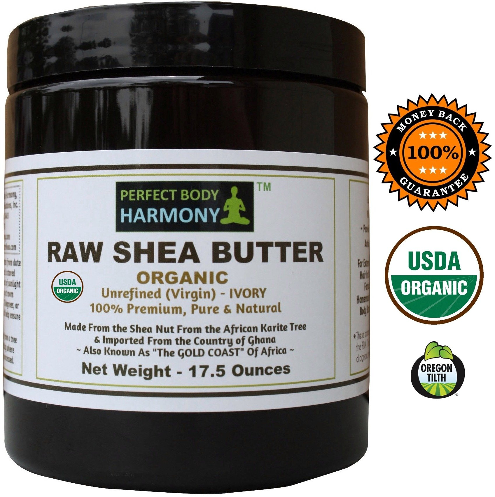 Perfect Body Harmony CERTIFIED ORGANIC Raw Shea Butter *Huge 17.5 oz X LARGE UV AMBER BPA Free JAR! AUTHENTIC Organic African 100% Premium TOP Quality Unrefined IVORY. Best Natural Noncomedogenic
