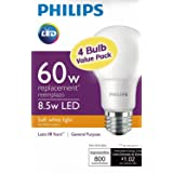 Philips New 60-Watt Equivalent A19 LED Light Bulb Soft White - 2700K - 4 Pack (Color: Soft White, Tamaño: Pack of 1)