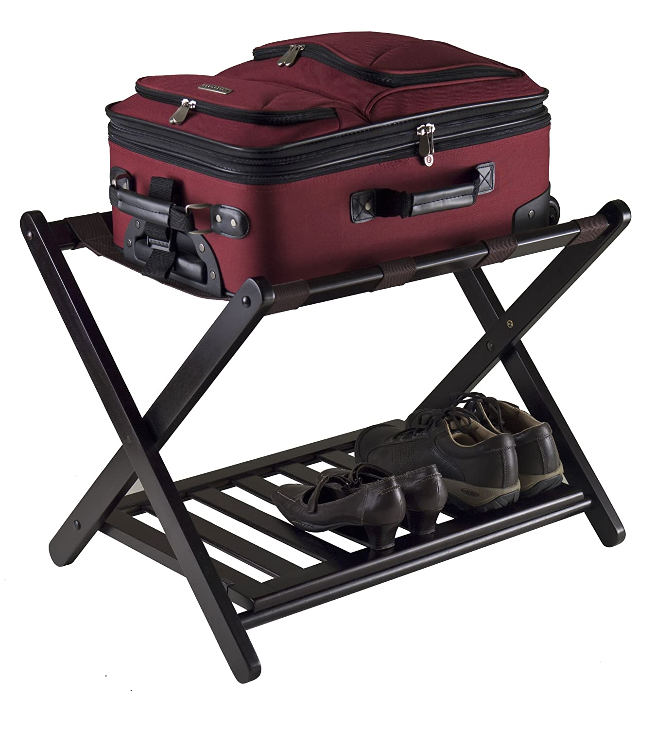 New Winsome Reese Luggage Rack Shelf Storage Stand Bedroom Guest Organizer Sh
