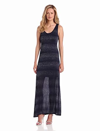 Two by Vince Camuto Women's Lurex Stripe Tank Dress, New Navy, X-Small