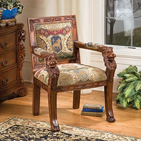 Design Toscano BEARDSLEY LION ARMCHAIR - SHIELD BACK       FRT-NR