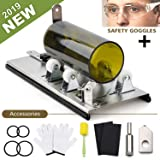 DoreenBow Bottle Cutter Kit Glass Bottle Cutter Tool for Round, Square and Oval Bottle Cutting Glass Cutting Tool with Gloves, Sanding Paper, Isolation Rings for DIY Projects Crafts (Color: silver)