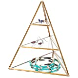 MyGift 3-Tier Glass Pyramid Jewelry Stand Display Case with Vintage Style Brass Tone Metal Frame (Color: Brass, Tamaño: Small)