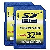 Micro Center 32GB Class 10 SDHC Flash Memory Card SD Card (2 Pack) (Tamaño: 32GB x 2)