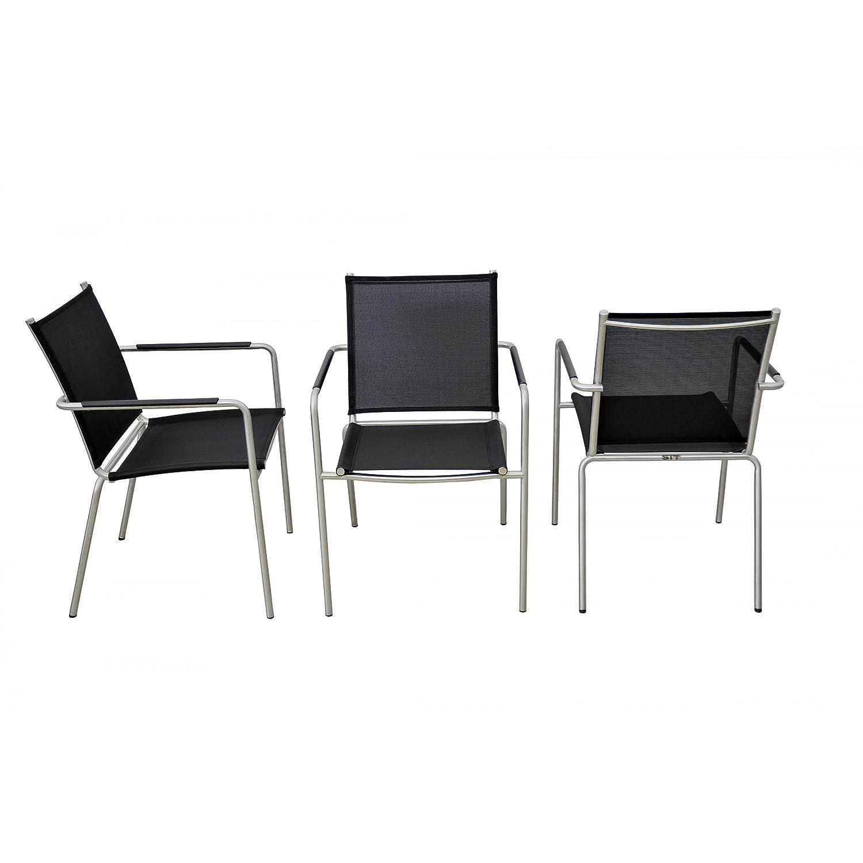SIT Mobilia Gartenstuhl/Stapelsessel Sevilla Edelstahl in schwarz 30INX8-11 jetzt kaufen