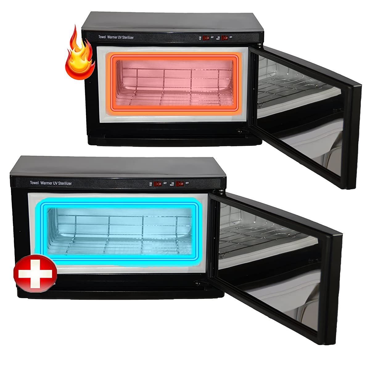 Black High Capacity Hot Towel Cabinet & UV Sterilizer 24 Ultra Soft Microfiber Facial Towels Included Salon Spa Equipment