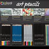 Colore Premium Art Pencils Pack - 50 Assorted Pencil Set for Coloring Pages & Books - Colored, Watercolor, Drawing, Charcoal and Metallic Color Pencils for Students, Kids & Adults School Supplies (Tamaño: 50 Art Drawing Pencils)