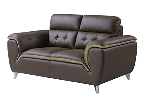 Global Furniture Loveseat, Dark Khaki and Natalie Cappuccino