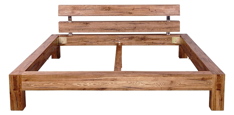 Mein Möbel Wildeiche-B200 Balken-/Massivholzbett 200 x 200 cm im klassischen Design, Wild-Spalteiche massiv, gewachst / geölt