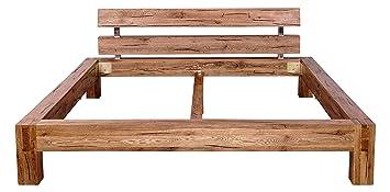 Mein Möbel Wildeiche-B160 Balken-/Massivholzbett 160 x 200 cm im klassischen Design, Wild-Spalteiche massiv, gewachst / geölt