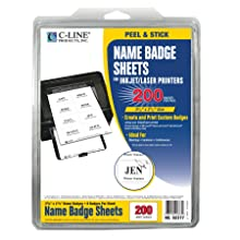 C-Line Pressure Sensitive Inkjet/Laser Printer Name Badges, Plain White 3.38 x 2.33 Inches, 200 Labels per Box (92377)