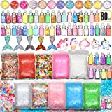 Slime Stuff Slime Add Ins Fish Bowl Beads Floam Beads Ingredients Mermaid Unicorn Slime Charms Glitter Jar Slime Kit for Girls and Boys .80 PCS