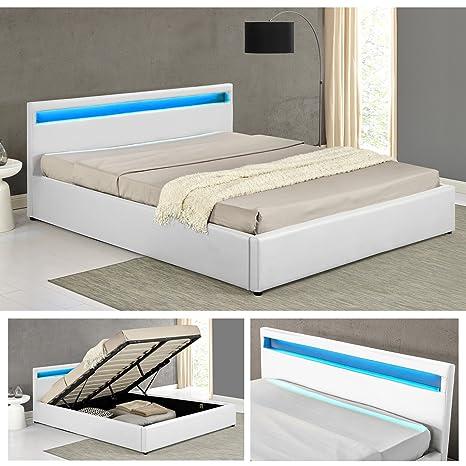 OHIO Weiss LED Doppelbett Polsterbett Gasdruckfeder Bett Lattenrost Kunstleder (180 x 200cm)