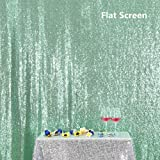 PartyDelight Sequin Backdrop 4FTX6.5Ft Mint Green for Wedding Curtain, Party, Photo Booth. (Color: Mint Green, Tamaño: 4X6.5)
