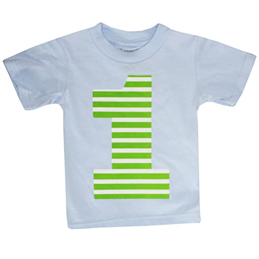 Happy Family Clothing Unisex Baby First Birthday Lime Stripe T-Shirt