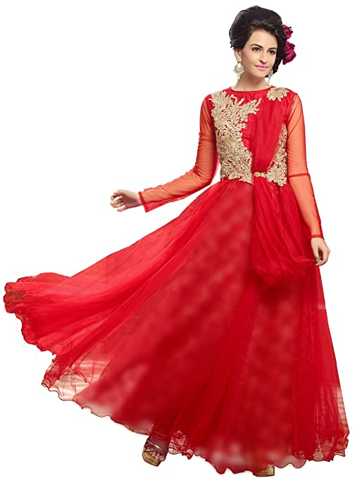 f637e87aed Blissta Red partywear Long Net Gown Dress material available at Amazon for  Rs.1199