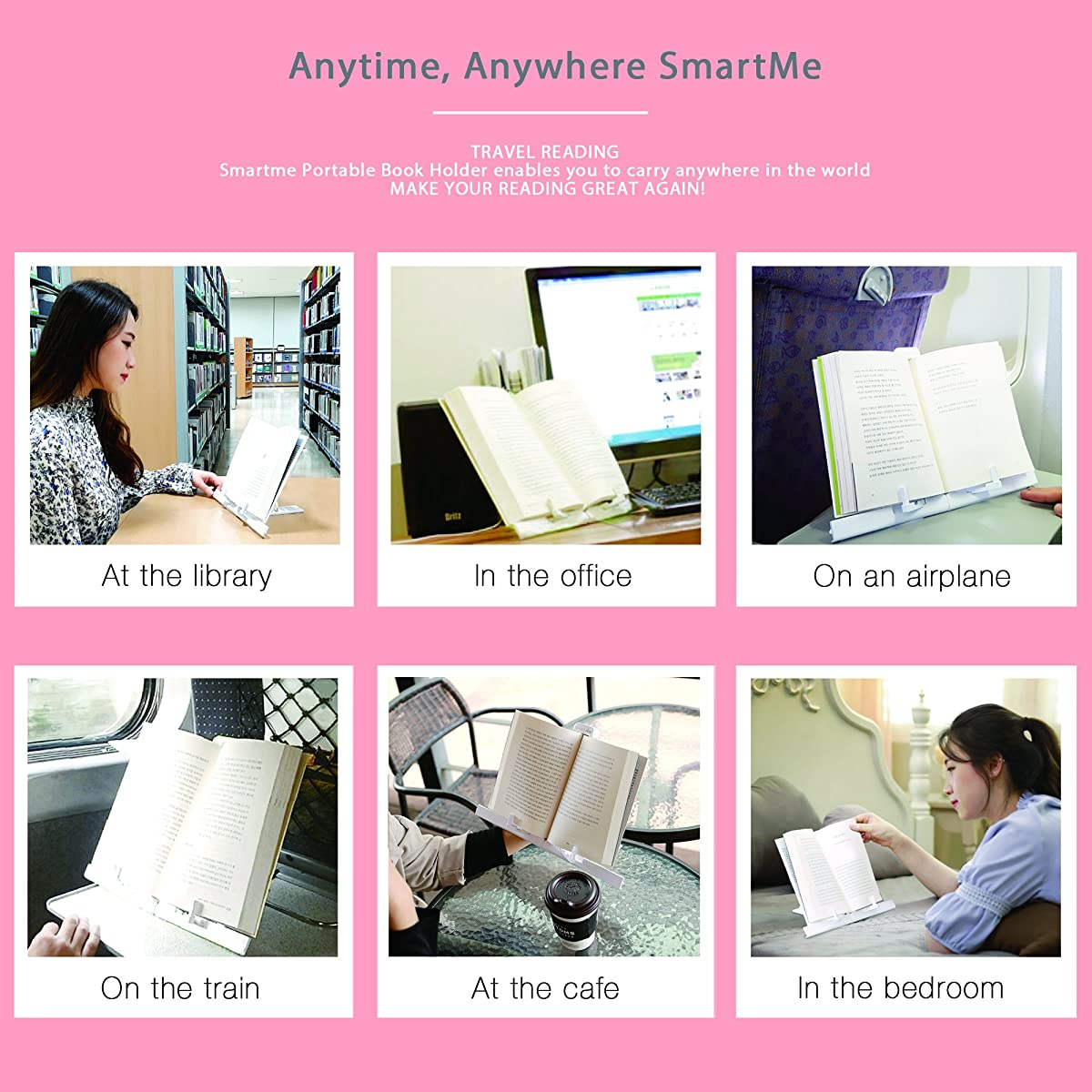 [SmartMe] Portable Book Stand Ultra-Light Weight 0.33lb Transformer Book Holder, Angle Adjustable Smart Pad Mount, Reading Stand, Document Holder