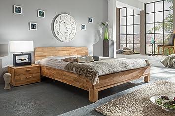 Bett 140 x 200 cm mit Nako massiv Wildeiche geölt natur