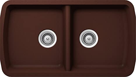 SCHOCK SOLN200U009 SOLIDO Series CRISTALITE 50/50 Undermount Double Bowl Kitchen Sink, Copper