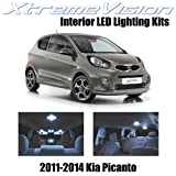 XtremeVision Kia Picanto 2011-2014 (4 Pieces) Cool White Premium Interior LED Kit Package + Installation Tool