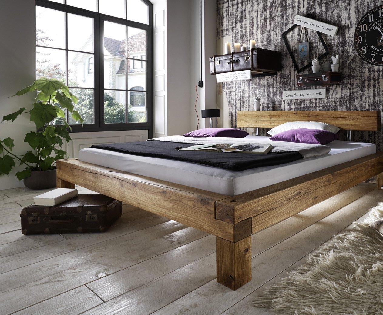 SAM® Balkenbett Ludo 140 x 200 cm massiv Wildeiche ohne Nachtkommode natürliches Design robust Lieferung per Spedition online kaufen