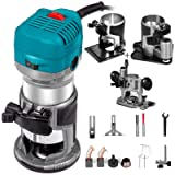 Mophorn 6.5Amp 1-1/4 HP Wood Router Tool Kit Max Torque 30,000RPM Variable Speed Compact Router Kit With Fixed Base, Plunge Base, Tilt Base and Offset Base (kit w/4 bases)