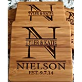 Personalized Wedding Gifts and Bridal Shower Gifts - Monogram Wood Coasters for Drinks (Set of 2, Nielson Design) (Color: Nielson Design, Tamaño: Set of 2)