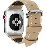 7 Colors for Apple Watch Band, Fullmosa Mosa Calf Leather Strap Replacement Band/Strap with Stainless Steel Clasp for Apple iWatch Series 1 2 3 Sport and Edition Versions 2015 2016 2017, Khaki, 38mm (Color: Khaki-Mosa, Tamaño: 38 mm)