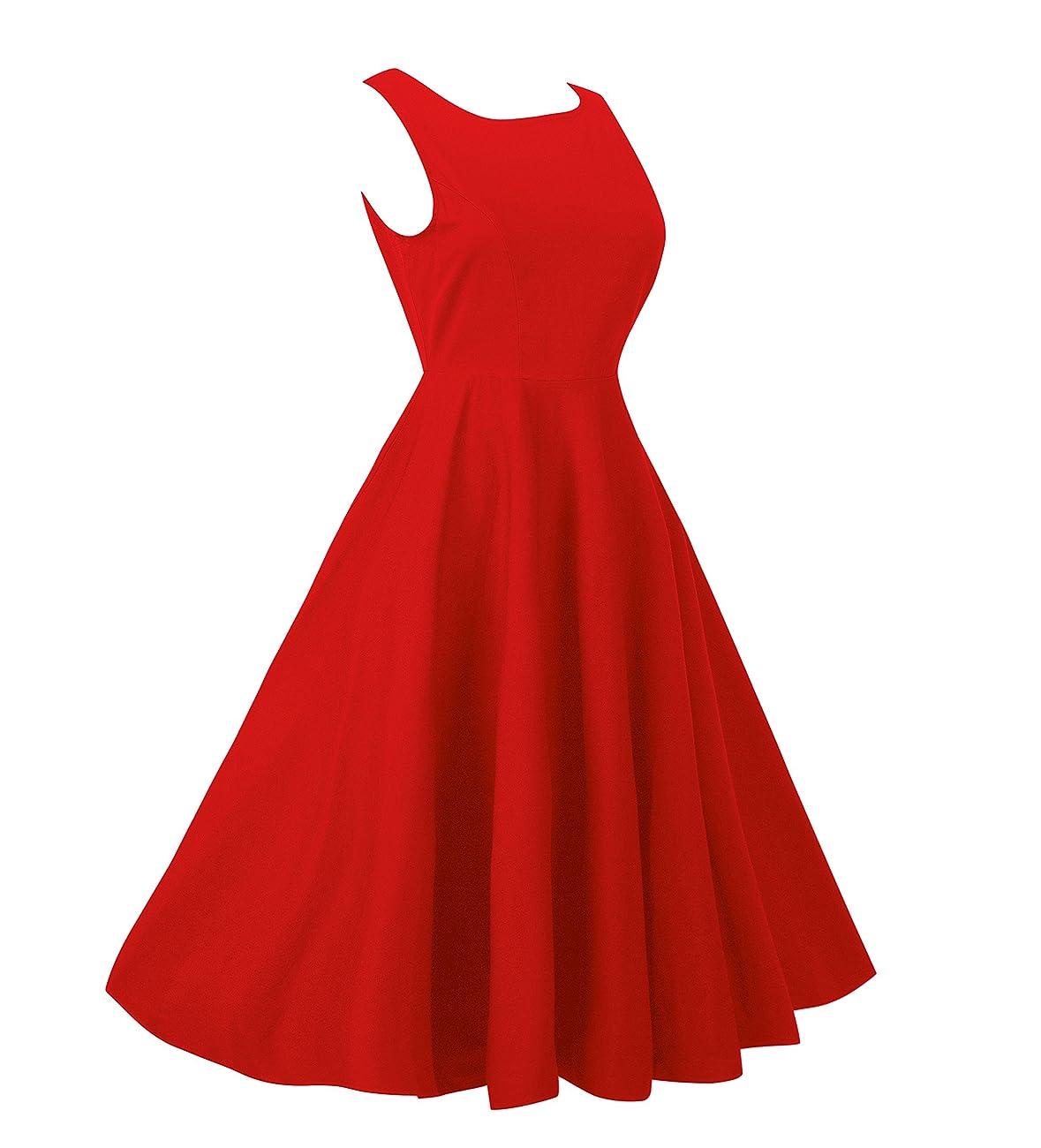 NINEWE Women's Classy Audrey Hepburn 1950s Vintage Rockabilly Swing Dress 1