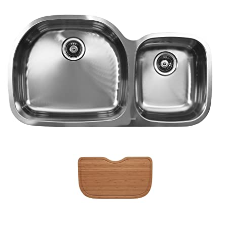 Ukinox D537.60.40.10L.C Modern Undermount Double Bowl Stainless Steel Kitchen Sink with Cutting Boards