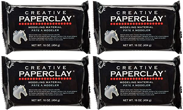 Creative Paperclay for Modeling Compound, 16-Ounce, White 4 Pack (Color: 4 Pack (White))