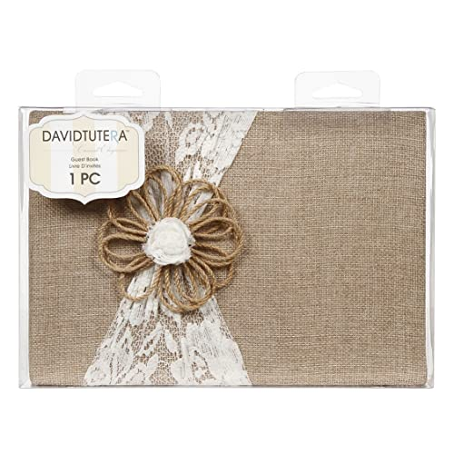 Darice David Tutera Burlap and Lace Guest Book