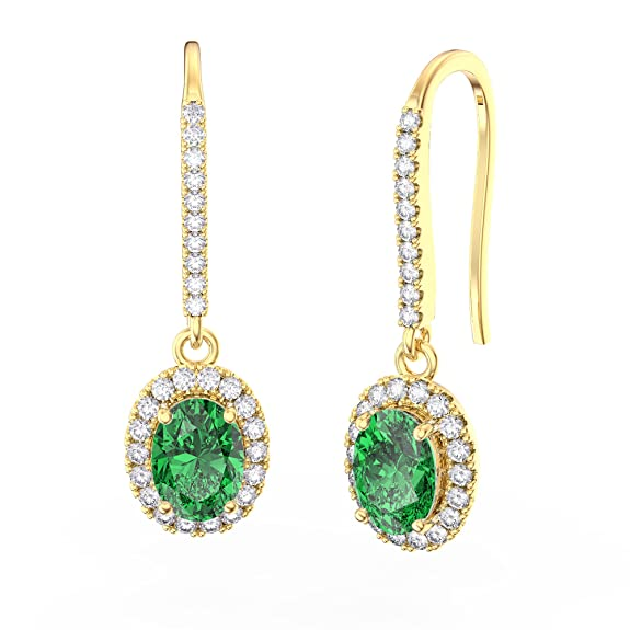Eternity Emerald and Diamond Pave Silver Earrings (OVAL YELLOW GOLD)