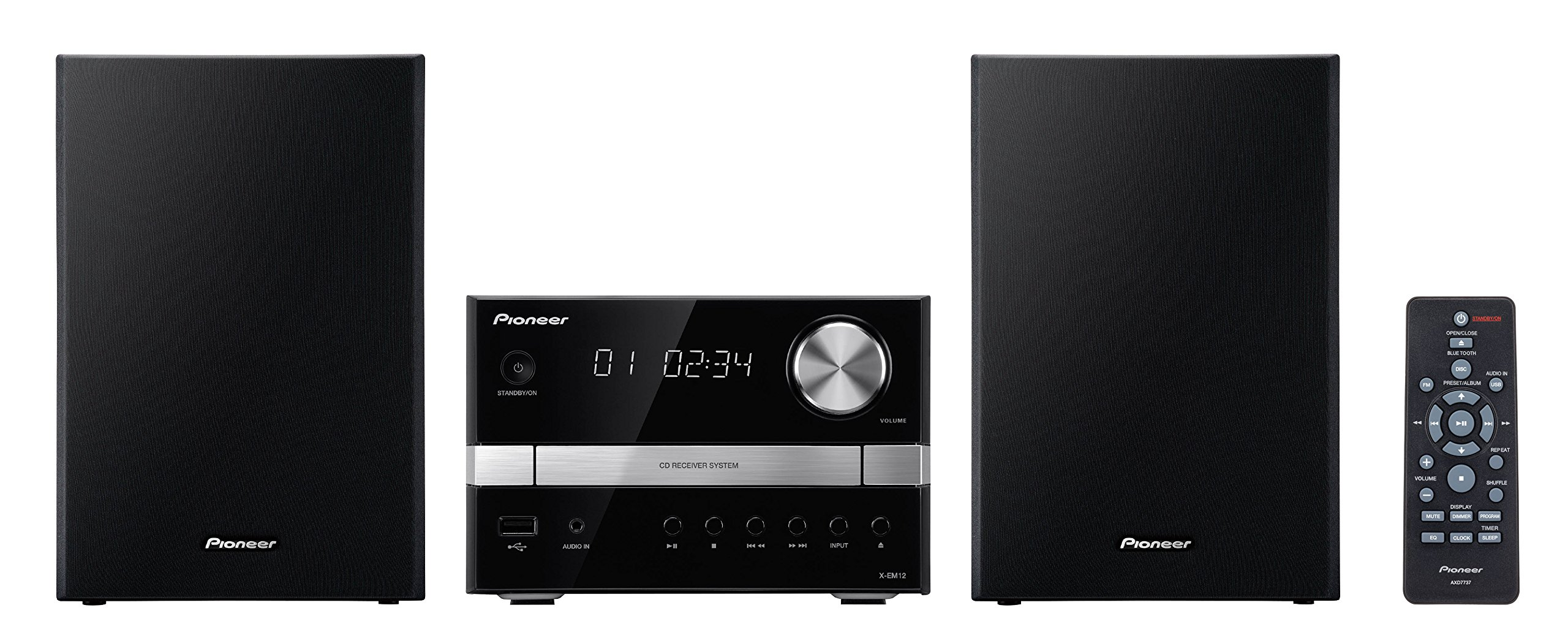 Pioneer X-EM12 2x15W Micro Music System with CD, USB and FM Tuner - Black