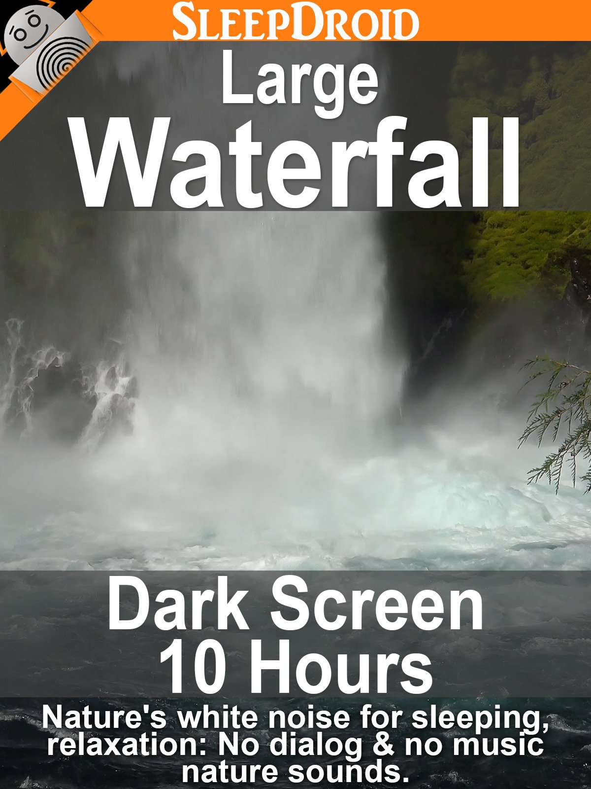 Large Waterfall: Dark Screen 10 hours