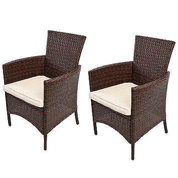 Lot de 2 chaises de jardin en osier, coloris brun, H 85,5 x L 61x P 60 cm -PEGANE-