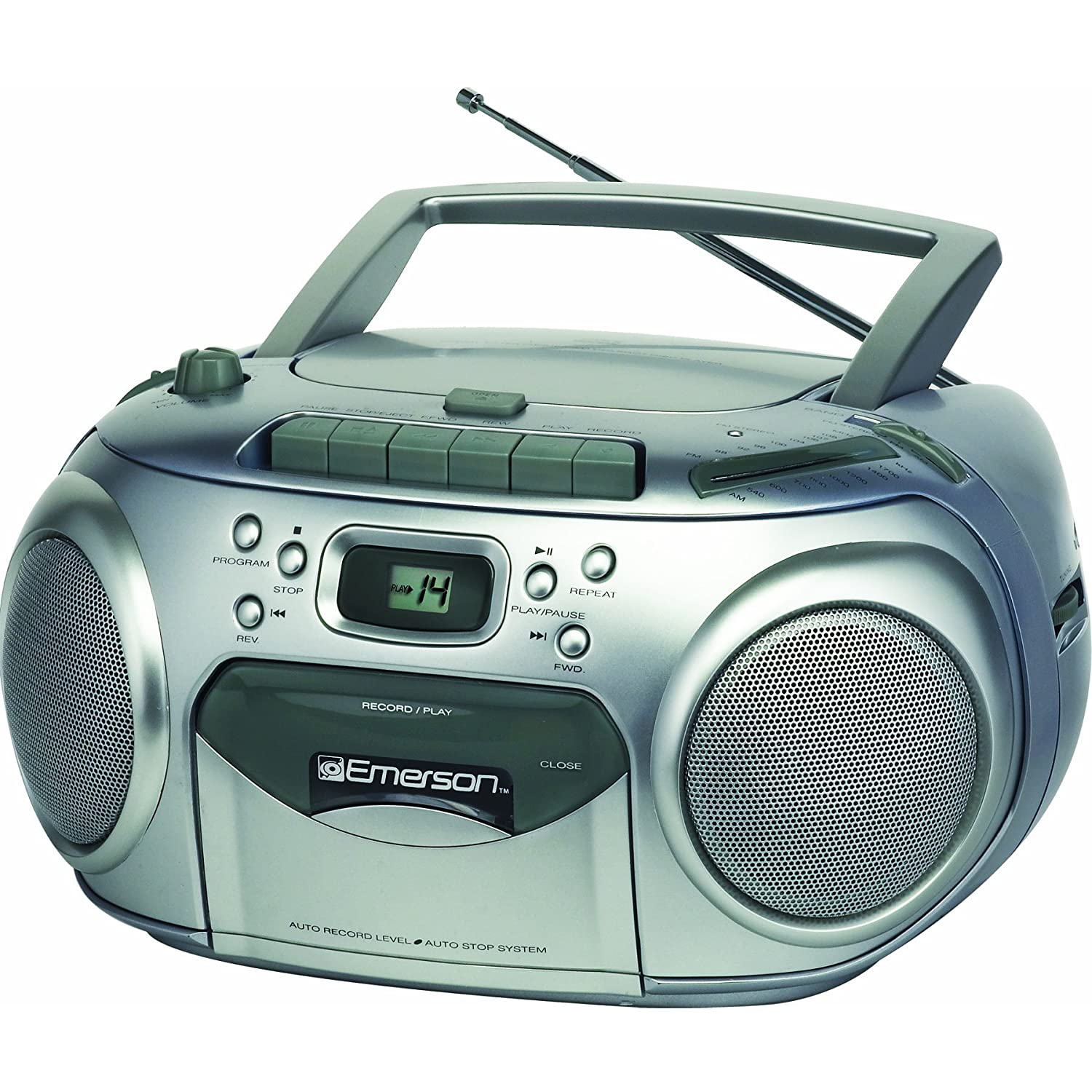 emerson pd6548sl portable radio cd player with cassette recorder am fm stereo ebay. Black Bedroom Furniture Sets. Home Design Ideas