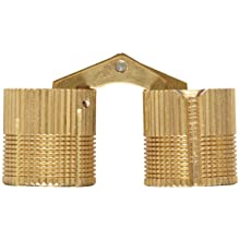 """SOSS Mortise Mount Invisible Barrel Hinge, Solid Brass, Satin Brass Finish, 24mm Diameter, 1-1/4"""" Door Thickness, 25mm Mortise Depth (Pack of 12)"""