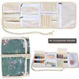Teamoy Crochet Hook Case, Canvas Roll Bag Holder Organizer for Various Crochet Needles and Knitting Accessories, Compact and All-in-one, Plum Flowers (Color: Plum Flowers, Tamaño: Canvas Crochet Hook Case)